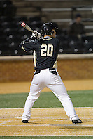 Justin Yurchak (20) of the Wake Forest Demon Deacons at bat against the Delaware Blue Hens at Wake Forest Baseball Park on February 13, 2015 in Winston-Salem, North Carolina.  The Demon Deacons defeated the Blue Hens 3-2.  (Brian Westerholt/Four Seam Images)