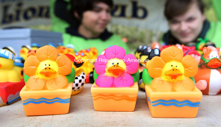 BEACON FALLS CT. 07 May 2017-050717SV07-Members of the Leo&rsquo;s Club a youth group sell little ducks at the 19th annual Duck Race and Riverfest in Beacon Falls Sunday.  Leo&rsquo;s Club is a youth group with the Beacon Falls Lions Club.<br /> Steven Valenti Republican-American