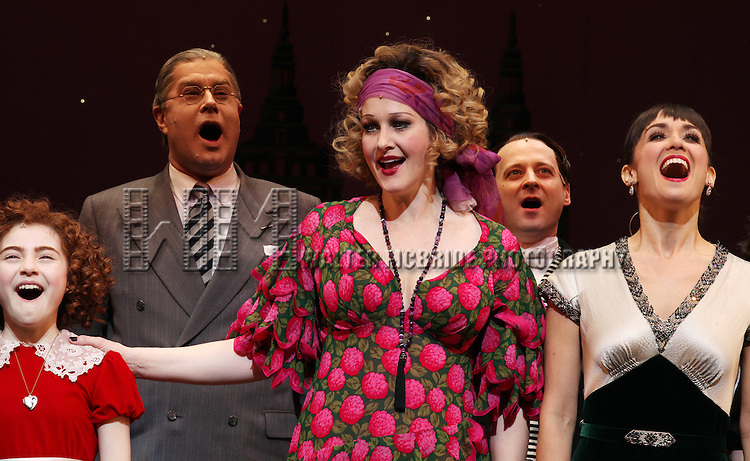 Lilla Crawford, Merwin Foard, Katie Finneran, Bryn O'Malley & Company during the Broadway Opening Night Performance Curtain Call for 'Annie' at the Palace Theatre in New York City on 11/08/2012