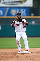 Rochester Red Wings second baseman Jorge Polanco (11) waits for a throw during a game against the Indianapolis Indians on May 26, 2016 at Frontier Field in Rochester, New York.  Indianapolis defeated Rochester 5-2.  (Mike Janes/Four Seam Images)