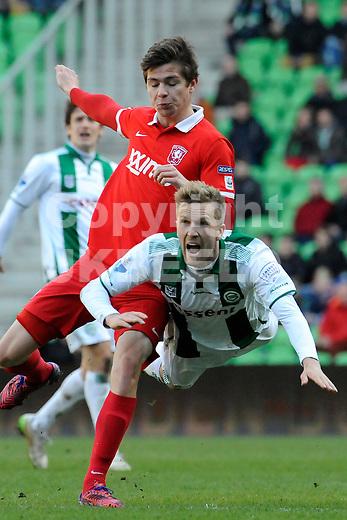 GRONINGEN - Voetbal, FC Groningen - FC Twente, Eredivisie, Euroborg, seizoen 2014-2015, 22-03-2015,  FC Groningen speler Rasmus Lindgren met FC Twente speler Torgeir Borven