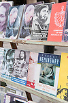 Havana, Cuba; books on display from a street vendor along Calle Obispo include original Life magazines and comic books detailing the Cuban revolution, along with books on Fidel Castro, Che Guevara and Ernest Hemingway's The Old Man and the Sea