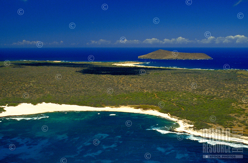 Aerial of island with beach and coastline, Niihau