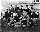GBBY 81G/02:  Football Team outside of Sorin Hall, 1896.<br /> Back row:  Patrick E. Reardon, Angus D. McDonald, Trainer Housler, Thomas J. O'Hara, and William A. Fagan<br /> Middle row:  John (Jack) Mullen, Frank Hanley, Thomas T. Cavanaugh, Francis Lyons, Jacob Rosenthal, Frederick J. Schillo, John C. Murphy<br /> Front row:  Charles Moritz, Robert Emmett Brown, Michael T. Daly, Frank E. Hering, William C. &quot;Vic&quot; Kegler<br /> Image from the University of Notre Dame Archives.