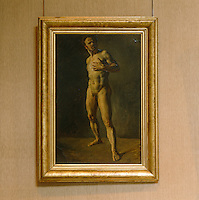 A characteristically dramatic study of the male nude hanging on a wall of the Musee Delacroix housed in his former atelier