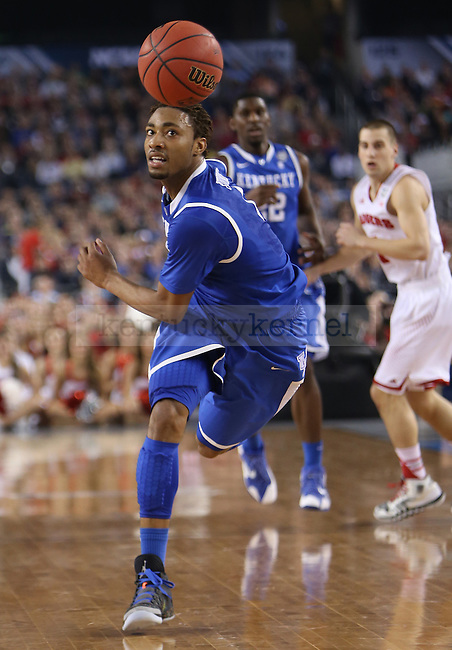 Kentucky Wildcats guard/forward James Young (1) runs for the ball during the NCAA Final Four vs. Wisconsin at the AT&T in Arlington, Tx., on Saturday, April 5, 2014. Photo by Emily Wuetcher | Staff