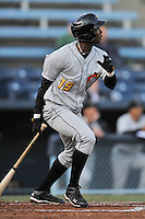 West Virginia right fielder Josh Bell #19 swings at a pitch during a game between the West Virginia Power and the Asheville Tourists at McCormick Field, Asheville, North Carolina April 10, 2012. The Tourists won 6-5  (Tony Farlow/Four Seam Images)..