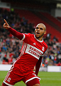 30th September 2017, Riverside Stadium, Middlesbrough, England; EFL Championship football, Middlesbrough versus Brentford; Martin Braithwaite of Middlesbrough celebrates making it 1-1 in the 68th min in the 2-2 draw