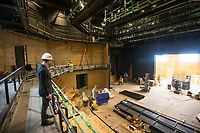 NWA Democrat-Gazette/BEN GOFF @NWABENGOFF<br /> Martin Miller, executive director of TheatreSquared, looks over the West Theatre Friday, March 1, 2019, while giving a tour of the new TheatreSquared building under construction in downtown Fayetteville.