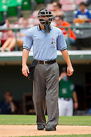 Home plate umpire David Soucy during the International League game between the Syracuse Chiefs and the Charlotte Knights at Knights Stadium on June 19, 2011 in Fort Mill, South Carolina.  The Knights defeated the Chiefs 10-9.    (Brian Westerholt / Four Seam Images)