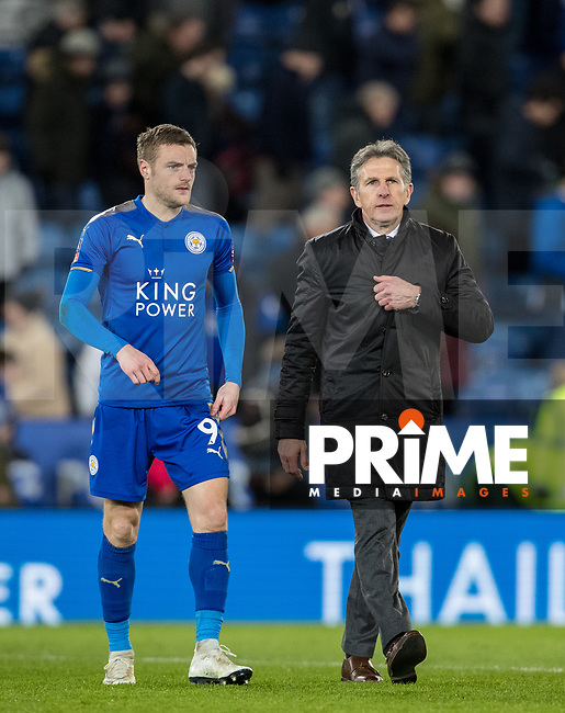 Leicester City Manager Claude Puel & Jamie Vardy of Leicester City during the FA Cup 5th round match between Leicester City and Sheff United at the King Power Stadium, Leicester, England on 16 February 2018. Photo by Andy Rowland.