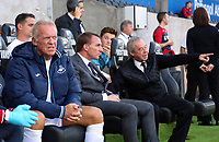 (L-R) Swansea Legends Alan Curtis and managers Brendan Rodgers and Brian Flynn during the Swansea Legends v Manchester United Legends at The Liberty Stadium, Swansea, Wales, UK. Wednesday 09 August 2017