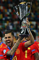 Dani Ceballos of Spain wins and celebrates the cupUdine 30-06-2019 Stadio Friuli <br /> Football UEFA Under 21 Championship Italy 2019<br /> final<br /> Spain - Germany<br /> Photo Cesare Purini / Insidefoto