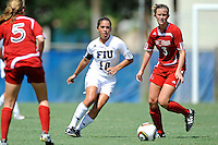 26 September 2010:  FIU's Kassandra Sorzano (10) advances the ball in the second half as the FIU Golden Panthers defeated the Arkansas State Red Wolves, 1-0 in double overtime, at University Park Stadium in Miami, Florida.