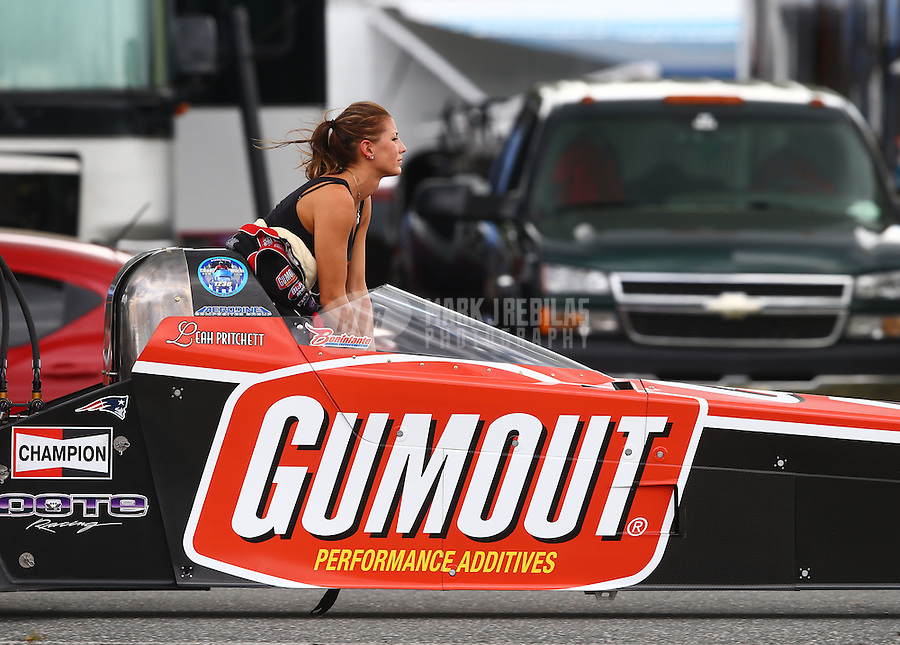 Mar 14, 2015; Gainesville, FL, USA; NHRA top fuel driver Leah Pritchett during qualifying for the Gatornationals at Auto Plus Raceway at Gainesville. Mandatory Credit: Mark J. Rebilas-
