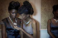 GABORONE, BOTSWANA - MARCH 21: Models wait backstage before a fashion show with a diamond jewelry show on March 21, 2013, in Gaborone, Botswana. The diamond company DeBeers had a fashion show with a diamond jewelry collection. (Photo by Per-Anders Pettersson)