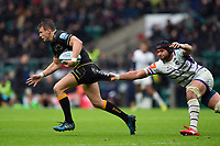 Dan Biggar of Northampton Saints is tackled by Sione Kalamafoni of Leicester Tigers. Gallagher Premiership match, between Northampton Saints and Leicester Tigers on October 6, 2018 at Twickenham Stadium in London, England. Photo by: Patrick Khachfe / JMP