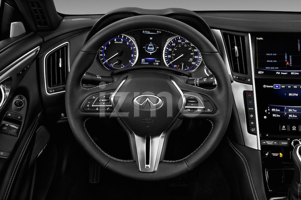 Car pictures of steering wheel view of a 2017 Infiniti Q60 Premium 2 Door Coupe Steering Wheel