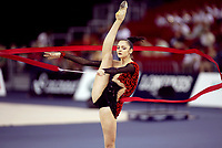 September 25, 2003; Budapest, Hungary; Rhythmic gymnastic star ANNA BESSONOVA of Ukraine performing ribbon at 2003 World Championships. Bessonova leads field<br />