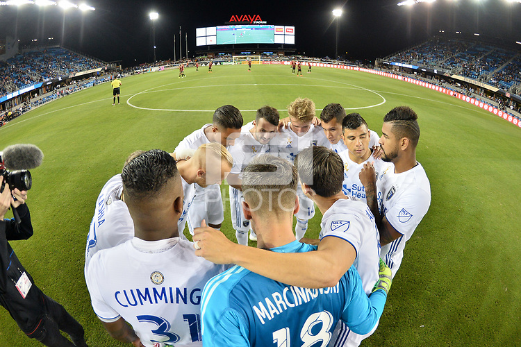 San Jose, CA - Wednesday September 19, 2018: San Jose Earthquakes huddle prior to a Major League Soccer (MLS) match between the San Jose Earthquakes and Atlanta United FC at Avaya Stadium.