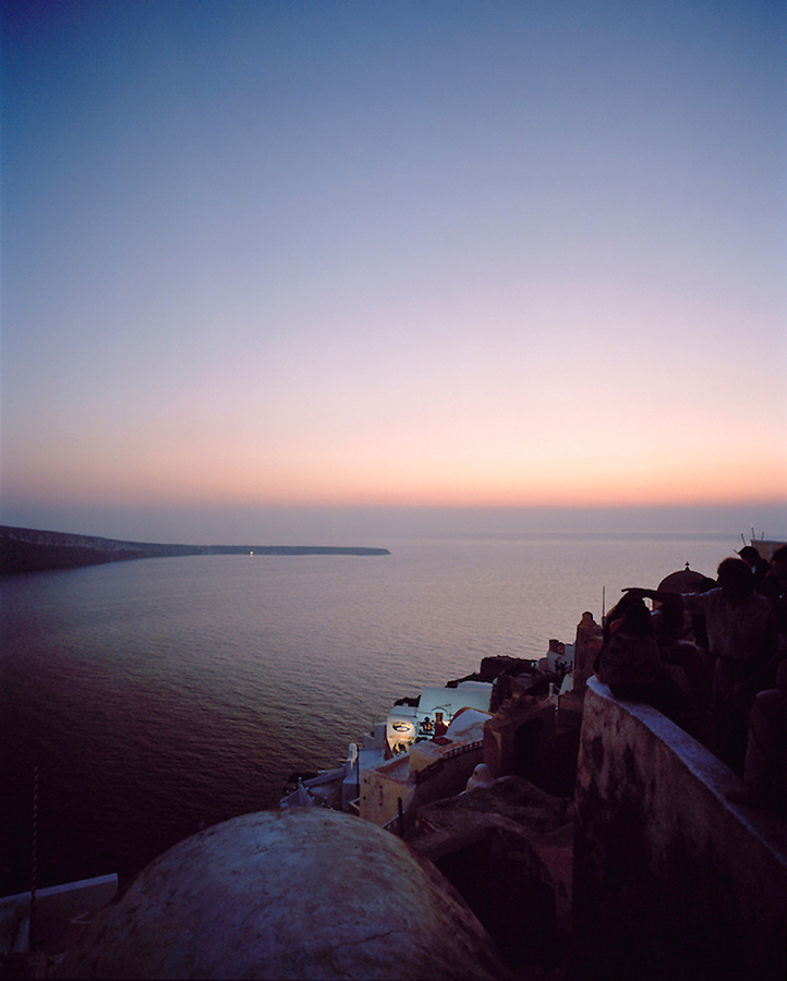 Santorini at dusk, Greece, Europe Santorini,  Cyclades Islands, Greece, Europe