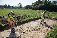 Archaeologists dig in a field after a geo radar survey showed signs of a viking ship being buried there. <br /> <br /> Gjellestad is known for previous viking finds, but the outline of a ship received massive international media interest. The dig will go on for two weeks and the results will help the authorities to decide how to proceed on the site in the future.<br /> <br /> ©Fredrik Naumann/felix Features