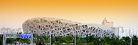 "The National Stadium in Beijing, also know as the ""bird's nest"" because of its innovative grid formation. The bird's nest was the main stadium for the 2008 Olympic Games.."