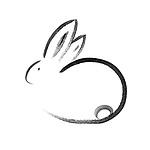 Cute minimalistic bunny artistic oriental style illustration, Japanese Zen Sumi-e ink painting based artistic design isolated on white background