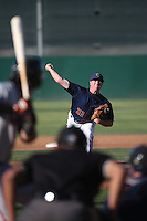Trent Thornton (31) of the Lancaster JetHawks pitches against the San Jose Giants during the first game of a doubleheader at The Hanger on July 14, 2016 in Lancaster, California. Lancaster defeated San Jose, 3-0. (Larry Goren/Four Seam Images)