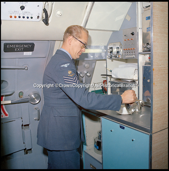 BNPS.co.uk (01202 558833)<br /> Pic: CrownCopyright/AirHistoricalBranch<br /> <br /> 1968 - The VVIP interior of the Royal VC 10.<br /> <br /> A new book gives an intimate look behind the scenes of the Royal Flight and also the flying Royals.<br /> <br /> Starting in 1917 the book charts in pictures the 100 year evolution of first the King's Flight and then later the Queen's Flight as well as the Royal families passion for aviation.<br /> <br /> Author Keith Wilson has had unprecedented access to the Queen's Flight Archives to provide a fascinating insight into both Royal and aeronautical history.