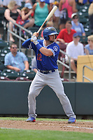 Oklahoma City Dodgers catcher Kyle Farmer (18) in action  against the Omaha Storm Chasers at Werner Park on June 24, 2018 in Omaha, Nebraska. Omaha won 8-0.  (Dennis Hubbard/Four Seam Images)