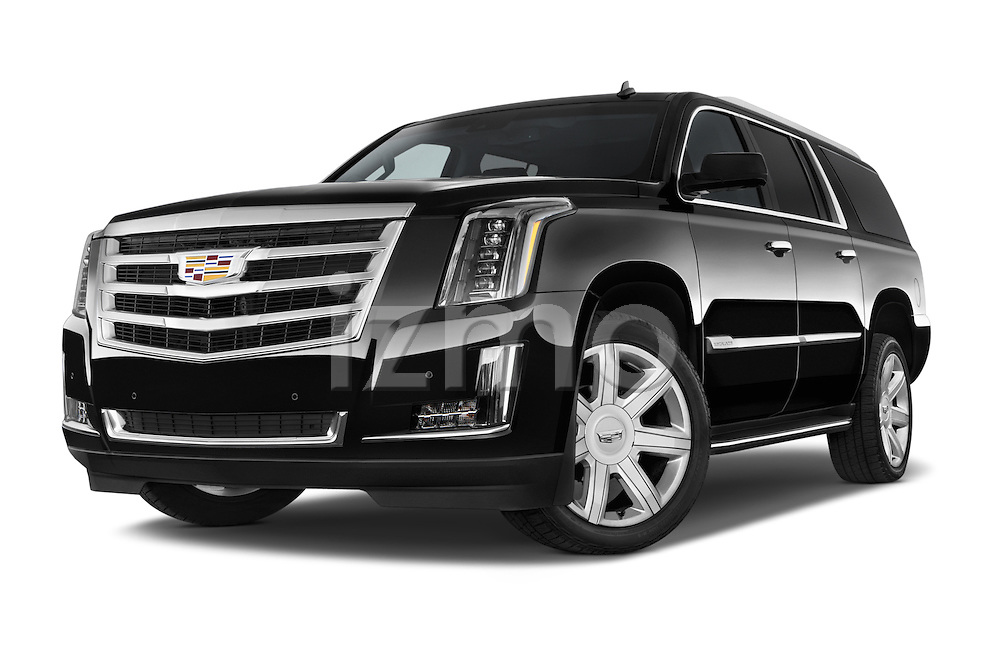 Stock pictures of low aggressive front three quarter view of 2017 Cadillac Escalade-ESV Luxury 5 Door SUV Low Aggressive