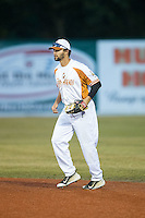 Asheboro Copperheads second baseman Quincy Quintero (5) on defense against the Gastonia Grizzlies at McCrary Park on June 1, 2015 in Asheboro, North Carolina.  The Copperheads defeated the Grizzlies 11-6. (Brian Westerholt/Four Seam Images)