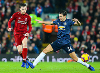 Liverpool's Andrew Robertson battles with Manchester United's Matteo Darmian<br /> <br /> Photographer AlexDodd/CameraSport<br /> <br /> The Premier League - Liverpool v Manchester United - Sunday 16th December 2018 - Anfield - Liverpool<br /> <br /> World Copyright &copy; 2018 CameraSport. All rights reserved. 43 Linden Ave. Countesthorpe. Leicester. England. LE8 5PG - Tel: +44 (0) 116 277 4147 - admin@camerasport.com - www.camerasport.com
