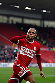 30th September 2017, Riverside Stadium, Middlesbrough, England; EFL Championship football, Middlesbrough versus Brentford; Martin Braithwaite of Middlesbrough celebrates the equaliser in the 68th minute to make it 1-1