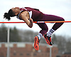Nakia Williams of Southampton looks to clear the bar during the open high jump event in the Dennis Walker Classic at Huntington High School on Saturday, April 15, 2017. He won the event with a successful clear at six feet, four inches.