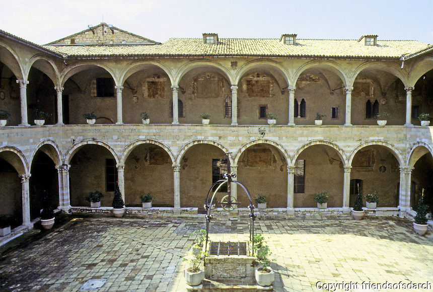 Italy: Assisi--Cloisters of the Dead, 15th century. Basilica San Francisco. Photo '85.