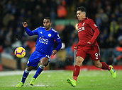 30th January 2019, Anfield, Liverpool, England; EPL Premier League football, Liverpool versus Leicester City; Ricardo Pereira of Leicester City competes for the ball with Roberto Firmino of Liverpool