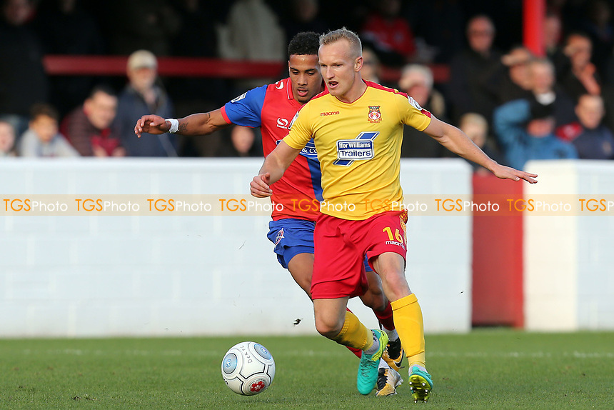 Alex Reid of Wrexham and Corey Whitely of Dagenham during Dagenham & Redbridge vs Wrexham, Vanarama National League Football at the Chigwell Construction Stadium on 21st October 2017