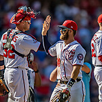 14 April 2018: Washington Nationals outfielder Bryce Harper celebrates a win against the Colorado Rockies at Nationals Park in Washington, DC. The Nationals rallied to defeat the Rockies 6-2 in the 3rd game of their 4-game series. Mandatory Credit: Ed Wolfstein Photo *** RAW (NEF) Image File Available ***