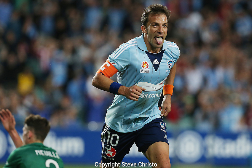Sydney FC's Alessandro Del Piero celebrates after scoring a goal against the Newcastle Jets at Allianz Stadium. Sydney, Australia.<br />