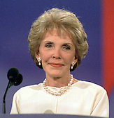Former First Lady Nancy Reagan speaks at the 1996 Republican National Convention in San Diego, California on August 12, 1996.<br /> Credit: Ron Sachs / CNP