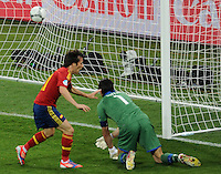 01.07.2012 Kiev, Ukraine.  Spain's David Silva (R) next to Italy's goalkeeper Gianluigi Buffon after scoring the opening goal for 1-0 during the UEFA EURO 2012 final soccer match Spain vs. Italy at the Olympic Stadium in Kiev, Ukraine, 01 July 2012.