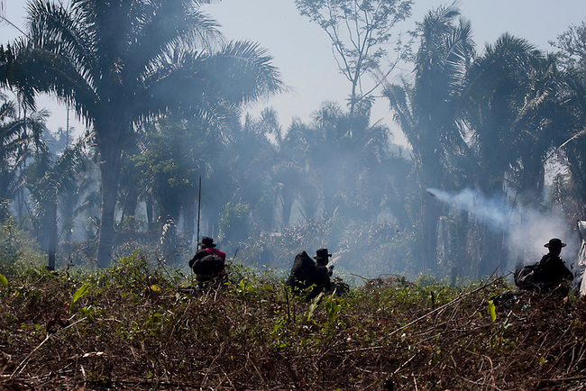 Police fire teargas into a village during a forced eviction of an illegal community inside the Mayan Biosphere.