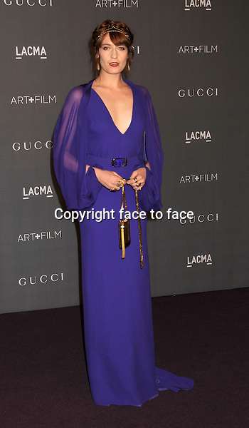 Florence Welch (head-to-toe in Gucci) arrives at LACMA Art + Film Gala at LACMA Art + Film Gala, Los Angeles, California, 27.10.2012...Credit: Mayer/face to face..- No Rights for USA and Canada -