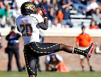 Maryland Terrapins defensive back Anthony Nixon (20) catches an interception during the game against Virginia in Charlottesville, Va. Maryland defeated Virginia 27-20.