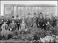 BNPS.co.uk (01202 558833)<br /> Pic: GardenMuseum/BNPS<br /> <br /> These men were combining interests, being members of the Abbey Hey Working Men&rsquo;s Allotment Society and active in &lsquo;showing&rsquo; their fruit and vegetables.<br /> <br /> These fascinating old pictures show that allotments have been a passion of the British for centuries.<br /> <br /> Today, more than 90,000 people are on waiting lists to get their own little patch of land to grow vegetables, and the pastime was just as popular in the early years of the 20th century.<br /> <br /> Garden historian and lecturer Twigs Way has sourced dozens of images of green-fingered Brits tending to their allotments during the 'allotment craze' amongst the middle classes sparked by the Allotments Act of 1908 which required councils to supply them when demanded.<br /> <br /> Families would decamp to the allotment on a Sunday and picnic among the cabbages, dividing tasks with the husband digging, the wife collecting crops and the children weeding or caterpillar picking.<br /> <br /> They grew cabbage, carrots, leeks, parsnips, beet, marrow and spinach while also staying faithful to the Victorian favourites seakale, salsify, scorzonera and asparagus.<br /> <br /> The allotments helped keep the British fed during the two world wars but fell out of favour in the 1960s and 1970s with elderly plot holders cast as villains in the battle to free up land for the housing boom.<br /> <br /> But, prompted by a desire amongst Brits to reconnect with the land, they are now in the throes of a full-scale revival.