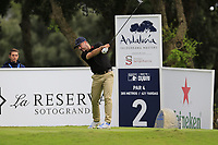 Mikko Korhonen (FIN) tees off the 2nd tee during Saturday's rain delayed Round 2 of the Andalucia Valderrama Masters 2018 hosted by the Sergio Foundation, held at Real Golf de Valderrama, Sotogrande, San Roque, Spain. 20th October 2018.<br /> Picture: Eoin Clarke | Golffile<br /> <br /> <br /> All photos usage must carry mandatory copyright credit (&copy; Golffile | Eoin Clarke)
