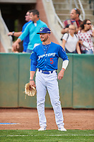 Sam McWilliams (5) of the Ogden Raptors before the game against the Grand Junction Rockies at Lindquist Field on June 17, 2019 in Ogden, Utah. The Rockies defeated the Raptors 9-0. (Stephen Smith/Four Seam Images)