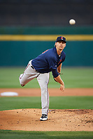 Pawtucket Red Sox starting pitcher Justin Haley (19) follows through on a warmup pitch during a game against the Buffalo Bisons on August 31, 2017 at Coca-Cola Field in Buffalo, New York.  Buffalo defeated Pawtucket 4-2.  (Mike Janes/Four Seam Images)